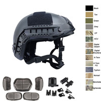 casco abs airsoft al por mayor-Deporte al aire libre Airsoft Paintabll Casco de tiro Cabeza Protección Engranaje ABS Versión estándar MH Casco de Airsoft táctico rápido