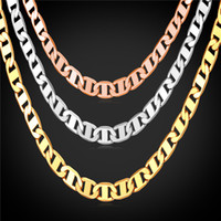 Wholesale Real Gold Filled - U7 Figaro Chain Necklace 3 Sizes Men Jewelry 18K Real Gold Plated Fashion Accessories Men Necklaces Party Gift N1040