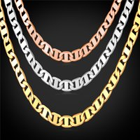 U7 Figaro Chain Necklace 3 Tamanhos Men Jewelry 18K Real Gold Plated Acessórios de Moda Men Necklaces Party Gift N1040