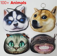 Wholesale Red Catalog - Wholesale- Coin Purse 2016 Full Catalog animal 3D printed pattern New unusual dog purse factory wholesale Pug fabric pouch children's pur