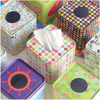 Wholesale 1PC Square Tissue Boxes Pumping Paper Towel Tube Reel Spool Tin Box For Living Room Table Decoration Accessories B5 From Dropshipping
