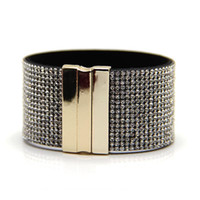 Wholesale Plat White - Glass rhinestone magnetic bracelet classical 17 rows black PU leather bracelet many different colours gold and rhodium plat snap prebeauty