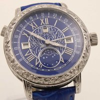 Wholesale Double Chronograph Watch Men - Hot Sale Top Quality Packet Auto watch Men Blue Dial 18K White silver Skeleton Leather Band Super Double Dial 6002G-001 wristwatch