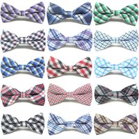 Wholesale Wholesale Plaid School Uniforms - 16colors Kids plaids bow tie school uniform accessory props boys girls opening ceremony school opening day performance British style bowknot