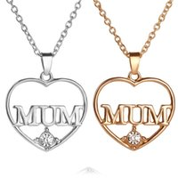 Wholesale 18k Gold Best Friends Pendant - Crystal Heart Mum Necklace 18K Gold Plated Love Heart Pendants for Women Girls Best Friend Necklaces Mother's Day Gift jewelry 161171