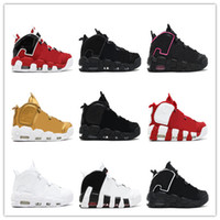 Wholesale Maroon Yellow - (With box) Air more Uptempo QS Olympic Bulls Varsity Maroon Black Mens Women Basketball Shoes Cheap Airs 3M Scottie Casual Shoes Sneakers