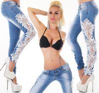 Wholesale Denim Women Casual Fashion Wear - Women Jeans Lace Patchwork Designer Slim Pencil Pants Hollow out Casual Denim Blue Floral Trouser Jeans Fashion Clothing Wear