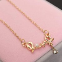 Wholesale Chocker Statement Necklaces - Korean Fashion Personality Imitation Pearls, Rhinestones Chic Love Necklace Women Chocker Statement Necklace Pearl Jewelry