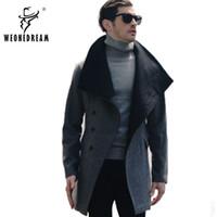 Wholesale Trench Style Dresses - Wholesale- Wholesale Winter Mens Long Woolen Trench Coat Male Hooded Jacket Coat Korean Style For Men Warm Dress Overcoat Plus Size S- XXXL