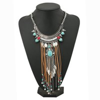 Vintage Necklacef for Women Silver Plated Multi Layer Bohemian Statement Joker Long Resin Gem Maxi Leaf Tassel Pendentif Colliers Corée