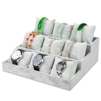 Wholesale Jewelry Storage Velvet Watch Holder - Argositment 9 grid Gray velvet Jewelry Watch Bracelet Bangle Display Holder Stand Showcase Storage Boxes Pillow New 26*24*9.0CM