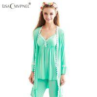 Wholesale Set Pcs Autumn Cardigan - Wholesale- Lisacmvpnel Autumn Style bamboo fiber 3 pcs lace robe+nightgown+pant cotton women pajamas sexy robe sets women cardigans