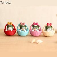 ingrosso ornamenti giardino gatti-Tanduzi 4 pz Carino Rotondo Bottomato Cestino Gatto Ornamenti Da Giardino Micro Paesaggio Home Decor Bonsai Dollhouse Miniature Resina Artigianato