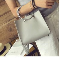 Wholesale Motorcycle Top Bags - Top Women's PU Leather Ring Shoulder Bag 2017 New European Casual Composite Bag Solid Women Messenger Bag sac a main