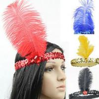 penas de avestruz cores misturadas venda por atacado-Flapper Headband Flapper Charleston Traje Headband Banda Partido Pena de Avestruz Plume Hairband misturado mais cores frete grátis