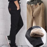 Wholesale thick sweatpants - Wholesale- High Quality Mens Wool Pants Men thermal Sweatpants Winter Black Gray Thick Warm Pants Male Cotton Cashmere Pashm Trousers M-4XL
