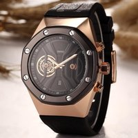 Wholesale Silver Oval Belt Buckles - 2017 hot sale automatic skeleton quartz watch for a man to leave the shore background transparent blue dial watch The fashion leisure belt w