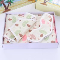 Wholesale Shaped Bibs - Multi-color Baby Quilt Chest Bibs Cartoon Shape Cute Pattern Six Layers of Gauze Muslin Snap Deluxe Soft Boys Girls Three Pieces