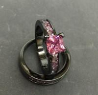 Wholesale Wholesale Princess Cut Diamond Rings - New Vintage Black Gold Filled Pink Diamond Ring Sets Princess Cut CZ Diamond Engagement Jewelry for Women JJ