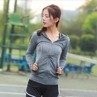 Wholesale Female Gym Clothes - New outdoor running fitness clothing gym sports hoodies autumn and winter long-sleeved yoga suit jacket female
