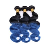 cabello azul virgen ombre al por mayor-Ombre Blue Human Hair Bundles Two Tone Colored 1b Blue Virgin Virgin Body Wave El cabello humano teje 3pcs / lot