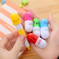 Wholesale Pill Pens - Newstrange Stationery Smiling Face Pill Shape Ballpoint Pen Cute Cartoon Favor Retractable Ball Pen Creative Stationery Children's Gifts