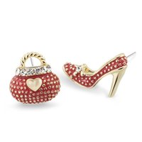 Wholesale Asymmetric Heels - Asymmetric High Heel Shoe Bag Stud Earrings for Women Crystal Rhinestone Lady Girls Earrings 3 Colors E439