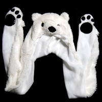 Wholesale Kids Hat Mittens Wholesale - Wholesale- HOT SALE!Cute Fluffy Animal Hat Hood with Paws Pocket Gloves Mittens Scarf Winter Ski Kid