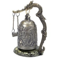 Wholesale Exquisite Chinese Carving - Antique Home Decoration Zinc Alloy Vintage Style Bronze Lock Dragon Carved Buddhist Bell Chinese Geomantic Artware Exquisite