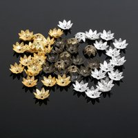 Wholesale Lotus Bead Caps Wholesale - 10MM 1000Pcs lot (Silver Gold Bronze Plated) Lotus Metal Bead Caps Jewelry Findings D0313