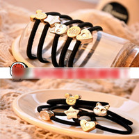 Wholesale Bow Ties Rings - 500pcs Hairbands Hair Accessories Metal Crown Love Hair Rope Ring Bow Tie Hair Rubber Girls Women Band Rubbers Bands Tousheng Black A6943