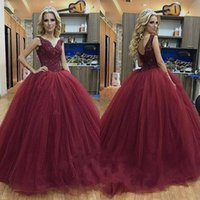 Wholesale Charming Quinceanera Dresses Ball Gown - Charming 2018 Ball Gown Formal Prom Dresses Burgundy Tulle V Back Sleeveless Long Puffy Evening Wear Plus Size Quinceanera Dresses