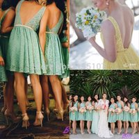 Wholesale Royal Groups - Sage Green Yellow Short Lace Bridesmaid Dresses Sexy Backless Knee Length Mint Wedding Guest Party Dresses Maid of Honor Groups Dresses 2017