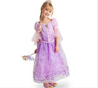 Wholesale Rapunzel Cartoon - 2017 Children Kids Cosplay Dresses Rapunzel Costume Princess Wear Perform Clothes Purple Princess Dress For Kids Free Shipping Q1012