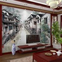 Wholesale Country Kitchen Sets - Chinese ink painting large murals study living room TV setting wall jiangnan scenery restaurant seamless wall cloth wallpaper