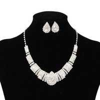Wholesale Two Piece Rings Fashion - 2017 Luxury Rhinestone Bridal Accessories Wedding Jewelery Sets Necklace Earrings Accessories Two Pieces Cheap Fashion Style Hot CPA797