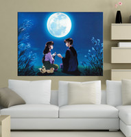 Wholesale Moon Canvas Wall Art - Wall Art Picture Inuyasha Miroku and Sango Moon Good Vibes Spray Painting Canvas Unframed HD Print Wholesale Home Decoration