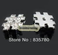 "Wholesale Symbol 8mm Slide Charm - diy charms 50PCS 8MM Inserted Rhinestone ""#"" Symbol Slide Charms DIY Accessory Fit 8mm Wristband Pet Dog Collars Strips Keychain"