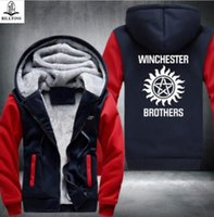 Wholesale Hoody Zip Fashion Men - New Supernatural Zip Hoody fashion Hooded Jacket Thick Coats hoodie Winchester Brothers USA Size fast ship