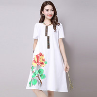 Wholesale Ancient Clothes - Linen Dress Plus Size Women Clothing Summer New Literary Restoring Ancient Ways In The Long Long In Easing Printing Cotton Dress