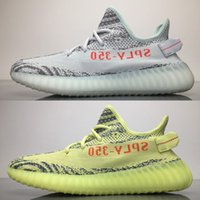 Wholesale outdoor fluorescent - 2018 Semi Frozen Yellow Kanye West 350 V2 Zebra Fluorescent Green Men Women Sneakers B37571 Blue Tint Shoes