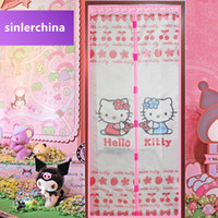 Wholesale lovely Hello kitty cat pink color x210cm children room magnetic insect screen door mesh