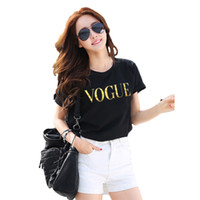 Wholesale Vogue C - Wholesale- women's t-shirt Fashion VOGUE Letter Print top t-shirts Casual Short Sleeve o-neck Loose t shirt White slim Plus Size NV08-C