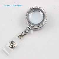 Wholesale Rhinestone Reel - 32MM Silver Retractable ID Badge Reels With 30MM Alloy Metal Rhinestone Glass Locket Eyeglass