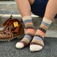 Wholesale cheap sock wool - Wholesale- Mens Winter Striped Warm Thick Wool Socks Cotton meias Mixture Vintage Men Plaid Casual Dress Cheap Socks calcetines