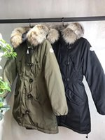 M Brand Women Winter Army Green Jacket Casacos Thick Down Parkas Plus Size 100% Real Raccoon Fur Collar Hooded Down Coat