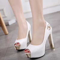 Wholesale White Ankle Strappy Dress Shoes - White wedding shoes glitter sequins bridal shoes ankle strappy thick high heel pumps 2 colors Size 34 to 39