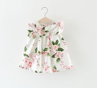 Wholesale Elegant Lolita - 3 color 2017 hot sell Korean style new arrival Girls flying sleeveless 100%l cotton Dress cute flower print girl summer casual elegant dress