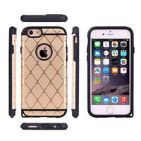 Wholesale Dust Plug Design - Defender Case 2in1 For iphone6s 6splus 5G 5S 4G CaseTPU+PC Diamond Pattern Rugged Case Steel Hybrid Gold Plug Anti-dust Design