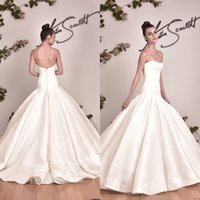 Wholesale Strapless Puffy Wedding Dresses - 2017 Fit and Flare Mermaid Trumpet Wedding Dress Simple Strapless Sleeveless Low Back Zipper Up Elegant Bridal Gowns Custom Made Puffy Skirt